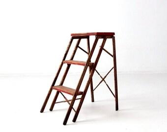 SALE vintage metal step ladder, red step stool, folding 3 step ladder