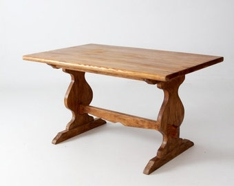 SALE vintage Monterey style wood table with trestle base