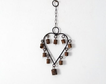 SALE vintage iron wind chime, rustic country heart shape bell chimes decor