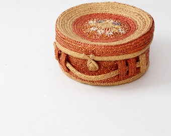 vintage Italian basket with lid, floral woven hat box