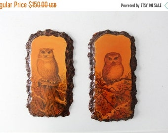 SALE vintage owl wall hangings, wood owl plaques