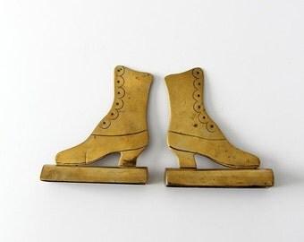 SALE antique brass Victorian shoe mantle ornaments