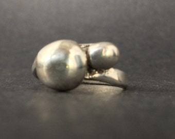 Sterling Silver Ring with Two Solid Sterling Orbs