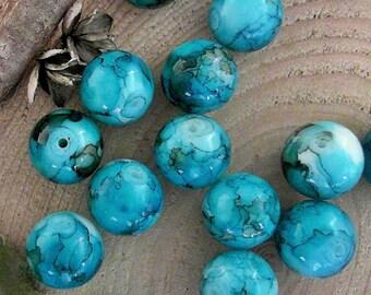 Sky Blue w/ Black Mottling 12mm Round Glass Beads              CC-811670