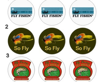 Fly Fishing Sport Fishing Pinback Button Flatback Button Badge or Magnet 1 inch set of 10