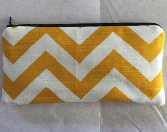 Chevron long zipper Pencil Case-Yellow and white
