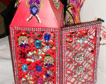 Boho Bejeweled with rhinestones on an red lantern hand jeweled Hollywood regency style