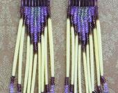 Purple Beaded Porcupine Native American Style Dangle Earrings With Sterling Screw Backs