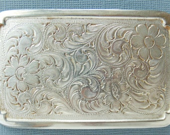 Embossed Soft Silver Floral Belt Buckle