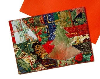 Luxury Christmas card, original textile art, red green gold, unique Christmas gift
