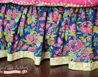 Gretchen Gathered Bed Skirt with Contrast Banding, Made When Ordered