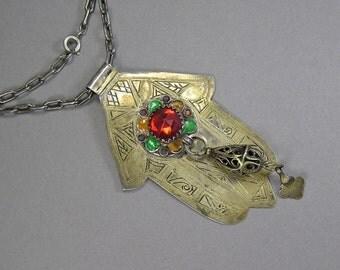 Gilt Hamsa Pendant, Hand Of Fatima Pendant, Statement Necklace, Vintage Ethnic Jewelry, Berber Jewelry, Khamsa