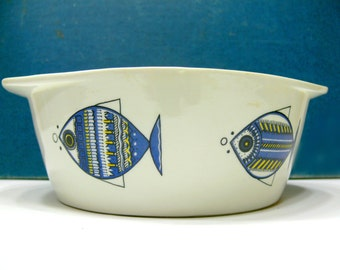 Vintage Danish Modern Villeroy & Boch Casserole Viking Fish Pattern Baking Dish Made in Luxembourg
