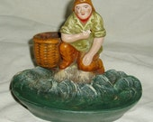 Dieppe France Pottery, Figural Bowl, Fisherman