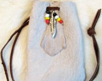 Moose Totem Medicine Bag Leather Bag Pouch
