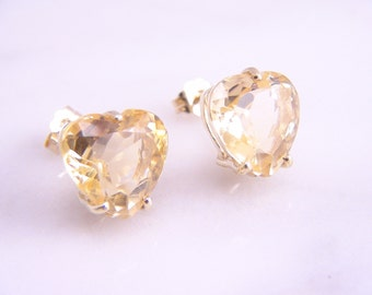 Vintage Natural Citrine Heart Shaped Stud Earrings 14k Yellow Gold