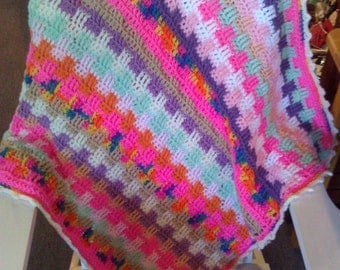 Ready to Ship--Crazy Colors Baby Blanket--Crochet Baby Blanket