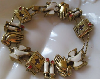 Vintage Enamel Gold Religious Slide Bracelet Bible Doves Candles Praying Hands