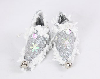 christmas ornament Silver Star Fairy Shoes belong to Sparkly star Fairy minature footwear holiday decor tree decoration