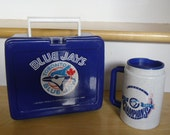 Vintage Baseball Sports Memorabilia - 1993 Toronto Blue Jays, 1993 MLP Plastic Lunch Box, 1993 Esso Tiger and Blue Jays, Plastic Travel Mug