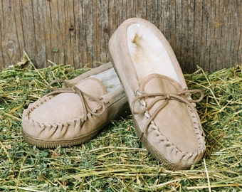 Moccasin Hard Sole Slippers Luxurious Shearling Sheep Skin