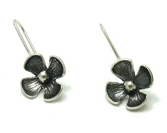 E000558 Sterling Silver Earrings Flower Solid 925