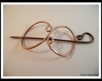 Copper Hair Slide, Copper Shawl Pin, Copper Wire, Copper Hair Accessories, Copper Clip, Sweater Clip, Scarf Clip, Valentines Day, HS 001
