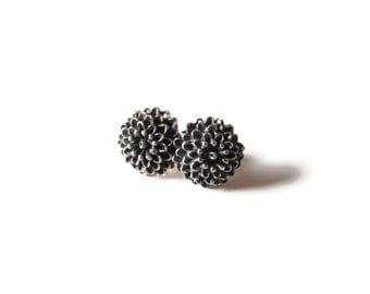 Chrysanthemum Sterling Silver Black