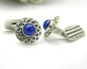 sale cufflinks lapis lazouli Sterling silver antique style round -cuff links-
