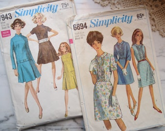 Lot of 2 Lovely Vintage 1960s Dress Sewing Patterns, Simplicity 6894, 7943 Size 16, 18