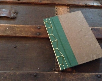 Japanese-Bound Green and Brown Blank Journal