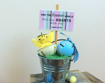 AGO Christian Easter Decor - Easter Chick Galvanized Bucket Isaiah 29:19 #215/30