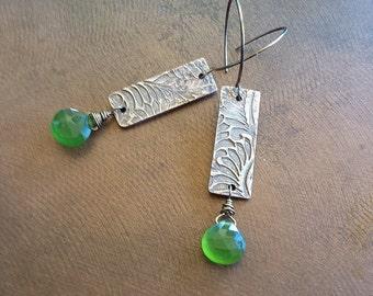 New! Bronze and Chalcedony Earrings - Handmade Bronze Leaf Dangle Earrings with Green Chalcedony Briolettes - Earthy Bronze Metal Earrings