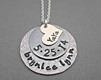 Personalized Mixed Metal Necklace - Stacked Necklace - Yaya Jewelry - Yaya Necklace - Mom Necklace - Grandmother Necklace - Mother's Day