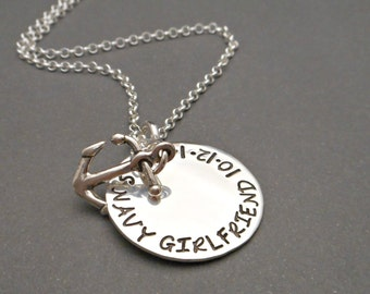 Hand Stamped Navy Girlfriend Necklace - Navy Girlfriend Jewelry - Military Necklace - Army Wife Necklace - Army Wife Jewelry - Nautical