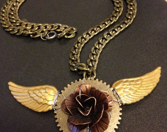 Winged rose - steampunk-style necklace