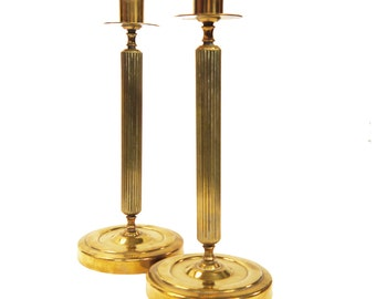 Vintage Brass Column Candlesticks c.1950s Fluted Column Candle Holders 10""