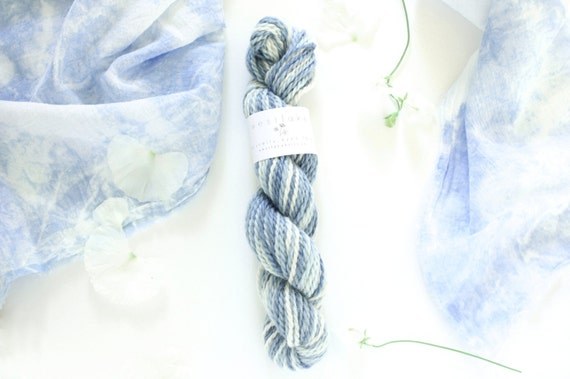 Indigo Dyed Yarn, Pure Baby Llama, self patterning yarn