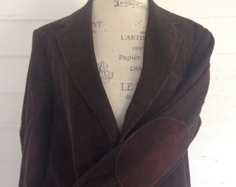 Vintage MOCHA Brown Corduroy Professor's Jacket w Suede Elbow Patches