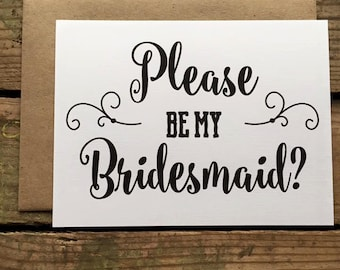 Will you be my Bridesmaid, Matron/Maid of Honor, Wedding Party Card, Please Be My Bridesmaid Card with Envelopes - Set of 5