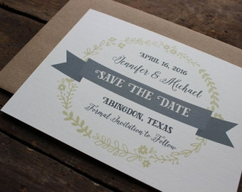 Wreath Save the Date Invitation / Calligraphy Font / Gray and Green Save the Date / Rustic Invitation / Wedding