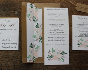 Rustic, Floral Wedding Invitation Set, Calligraphy Font with Pastel Flowers and Custom Tag, Neutral Colors