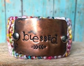 Custom Handstamped Bracelet Cuff, Personalized Jewelry, Blessed Bracelet, Pink and Copper Cuff Bracelet, Gift for Her
