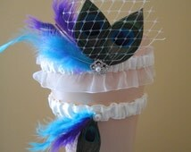 Purple & Turquoise Wedding Garter Set, Peacock Garters, Lace Ivory Bridal Garters, French Veil, Teal Blue and Purple Wedding, Something Blue