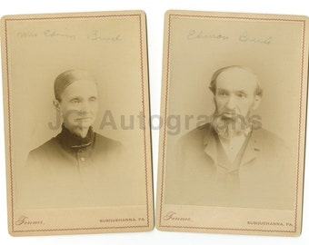 19th Century, Married Couple - Cabinet Cards - Two Vintage Photographs