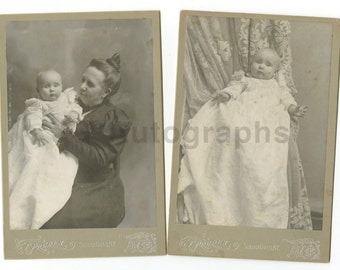 19th Century Infant - Cabinet Cards - Two Vintage Photographs