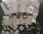 Inspiration Kit, Metal Charms, Buttons, Jute, Lace, Tags, 8x8 , Tim Holtz Kraft, DCWV metallic cardstock, Making Memories Vintage Findings