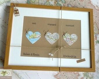 Wedding Map Hearts - Personalised Wedding Keepsake - Framed Love Heart  - Custom Anniversary Gift - Map of Love - Handmade in Ireland
