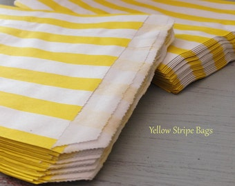Stripe Paper Bags - 5 x 8 -  Gift / Merchandise Bags - 50 Yellow  Favor Wedding Favors  Bridal Shower Gift Tags  Birthday