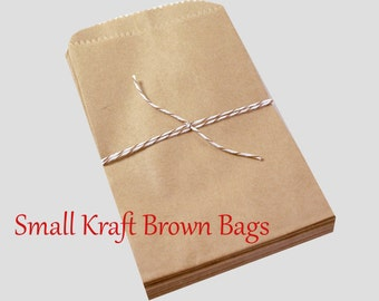 50 SMALL Kraft brown paper bags 3 1/2 x 5 3/4 inch - Packaging, Wedding Favors, Merchandise Bags, Gift Wrapping   Bridal Shower   Birthday